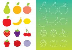 Free vector Flat And Thin Line Fruits #4387