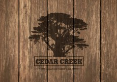 Free vector Free Cedar Tree Silhouette On Wooden Background #11922