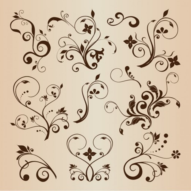 Free vector Vector Llustration Set of Swirling Flourishes Decorative Floral Elements #5423