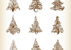 Free vector Vector Set of Christmas Trees #4558