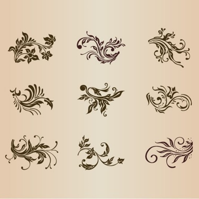 Free vector Vector Set of Vintage Floral Ornament Elements for Design #5313