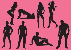 Free vector Woman And Man Sexy Silhouettes #6216