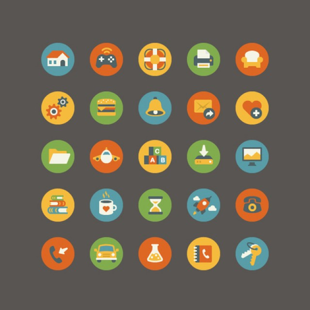 Free vector Vintage Flat Icons #5289