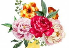 Free vector Watercolor bouquet of flowers #9478