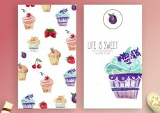 Free vector Watercolor cupcakes flyers #8733