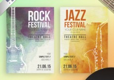 Free vector Watercolor music festival posters #10014