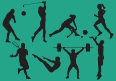 Free vector Woman And Man Sports Silhouettes #6229