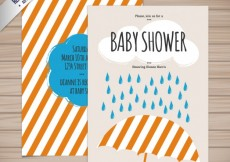 Free vector Baby shower card with an umbrella #13542