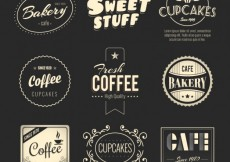 Free vector Bakery and coffee badges #17337