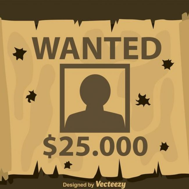 Free vector Bullet Holes On Wanted Poster #14638