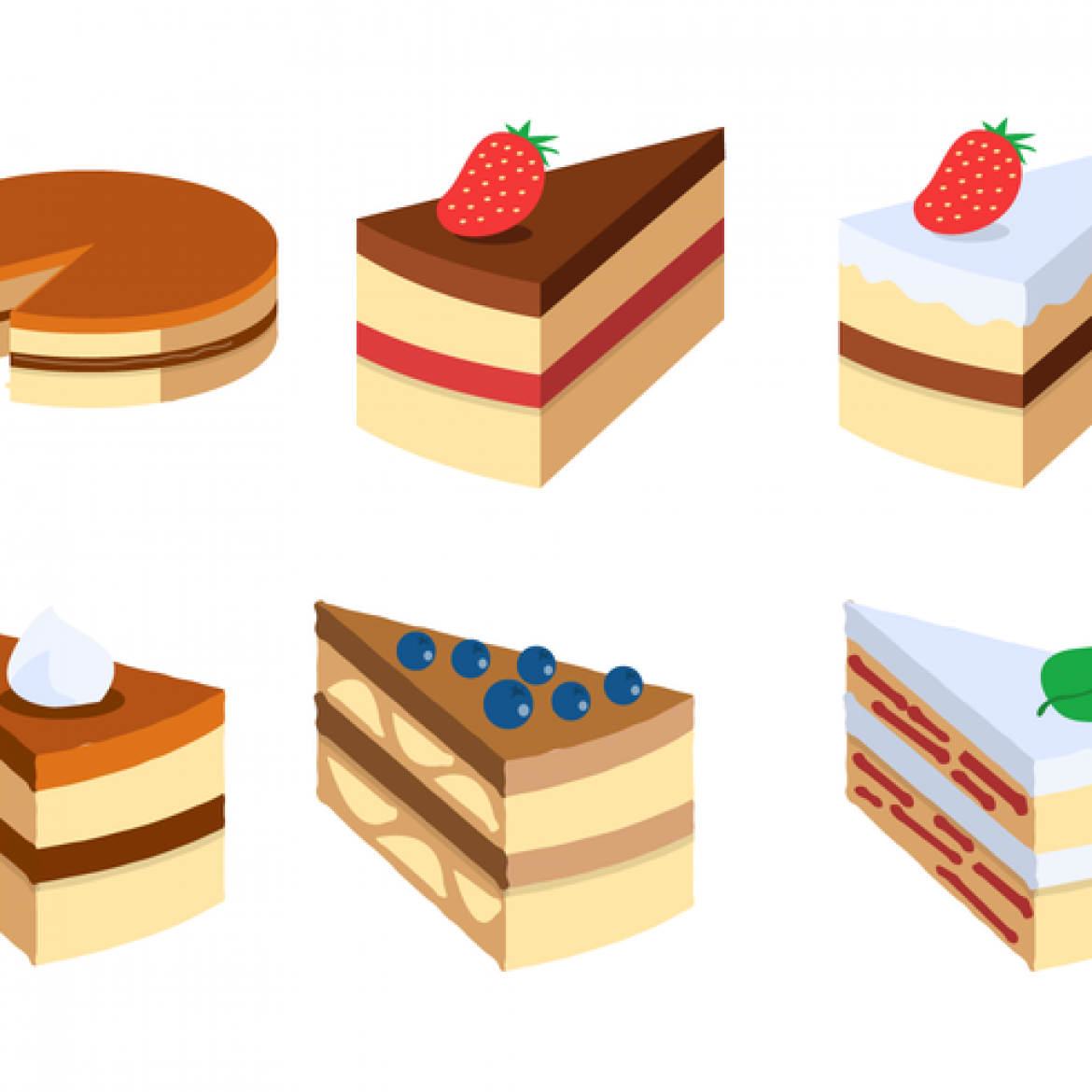 Cake Pictures Vector : Free vector Cake Slice Vector Set #14378 My Graphic Hunt