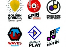 Free vector Colored music logos collection #18639