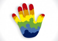 Free vector Colorful isolated hand #14837