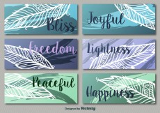 Free vector Colorful leaf banners #18876