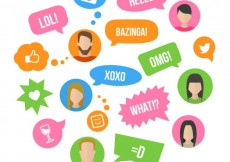 Free vector Colorful speech bubbles with expressions #19806