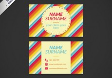 Free vector Colorful striped business card #16301