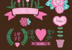 Free vector Cute decorative elements in romantic style #12279