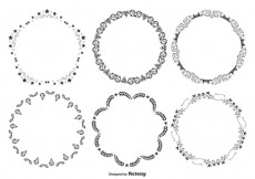 Free vector Cute Decorative Round Frames Set #18599