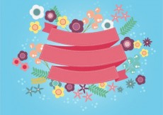 Free vector Cute ribbon with flowers #13498