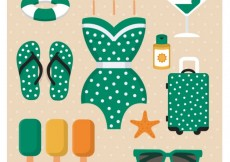 Free vector Cute summer icons collection #17694