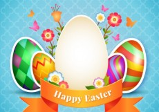 Free vector Decorated easter eggs card #17658