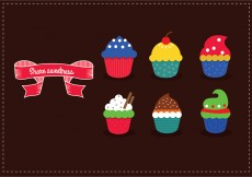 Free vector Delicious yummy vector cupcakes with sprinkles #12970