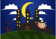 Free vector Dracula Haunted House Vector Background #17893