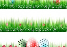 Free vector Easter banners with eggs in grass #19760