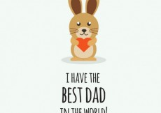 Free vector Fathers day congratulation with rabit #14054