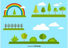 Free vector Flat forest and nature elements collection #13311