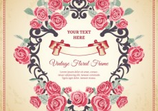 Free vector Floral frame in vintage style #18406