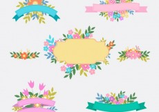 Free vector Floral ribbons #12847
