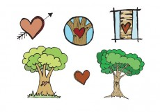 Free vector Free Heart Carved Tree Vector Series #14983