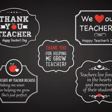Free vector Free Teacher's Day Chalk Labels Vector #15185