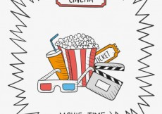 Free vector Hand drawn movie time #18255
