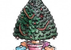 Free vector Hand painted christmas tree #16437