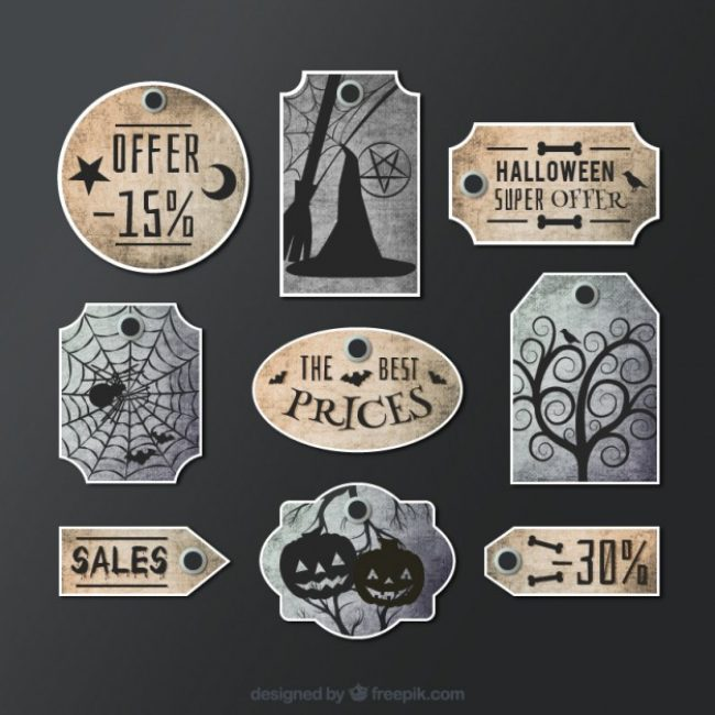 Free vector Hand painted halloween labels #15677