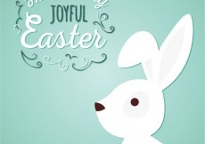 Free vector Joyful easter with a white bunny #19780