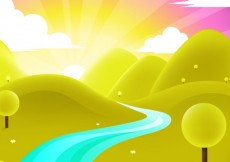 Free vector Landscape with sunrise #19009