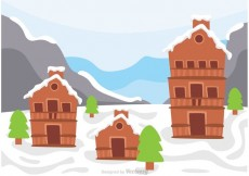 Free vector Log Cabin On Snowy Hill Vector #17200