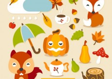 Free vector Lovely autumn characters and elements #14193