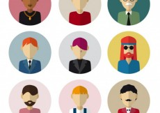 Free vector Male avatars in flat design #18881