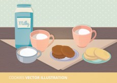 Free vector Milk and Cookies Vector Ilustration #16478