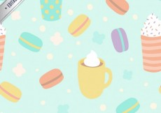 Free vector Mugs and macaroons pattern #13680