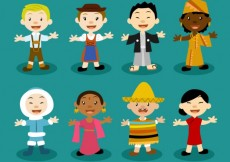Free vector Multicultural characters #19348