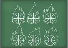 Free vector Outline Basketball on Fire Vectors #20139