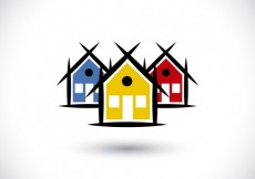 Free vector Real state logo with colorful houses #15703