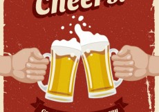 Free vector Retro poster with beers #19744