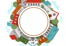 Free vector Round frame made of houses #15120