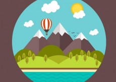 Free vector Rural landscape with mountains and beach #18833